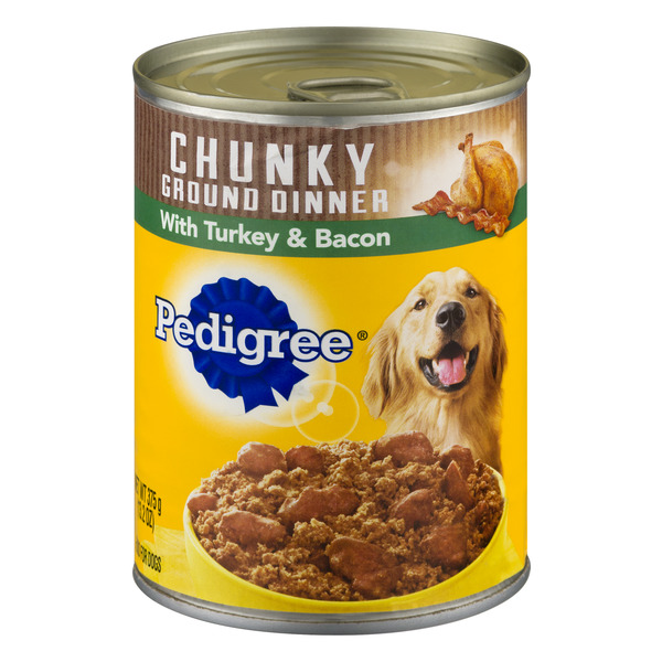 Pedigree Chunky Ground Dinner Wet Dog Food with Turkey & Bacon