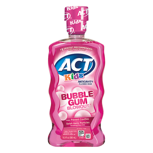 ACT Kids Anticavity Fluoride Rinse Bubble Gum Blowout Alcohol Free