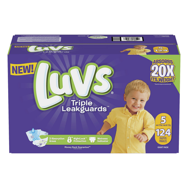 Luvs Triple LeakGuards Diapers Size 5 27+ lbs