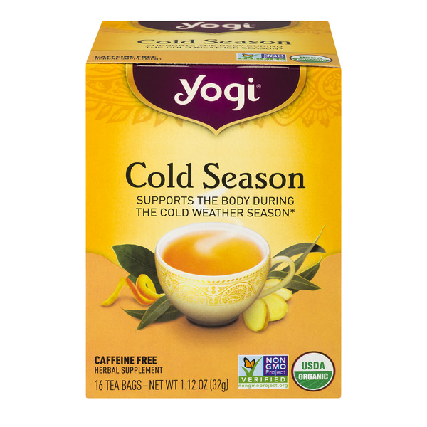 Yogi Cold Season Herbal Tea Bags Caffeine Free Organic