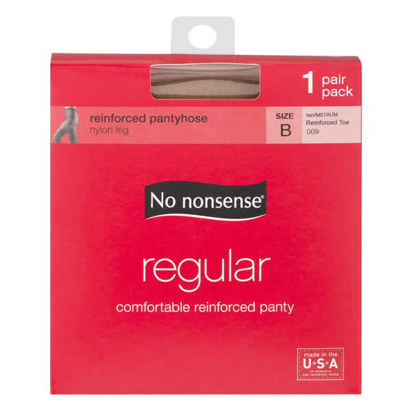 No Nonsense Regular Reinforced Pantyhose Tan Size B