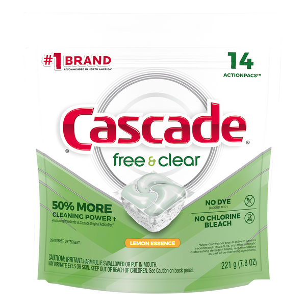Cascade Free & Clear Actionpacs Dishwasher Detergent Lemon Essence - 14 ct