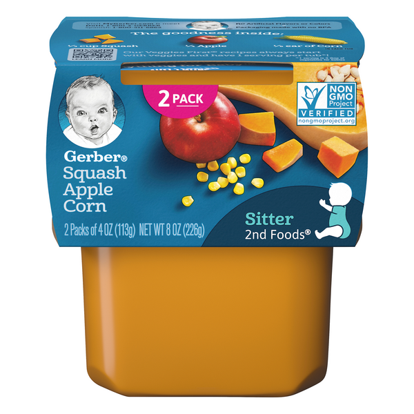 Gerber 2nd Baby Food Squash Apple Corn - 2 ct