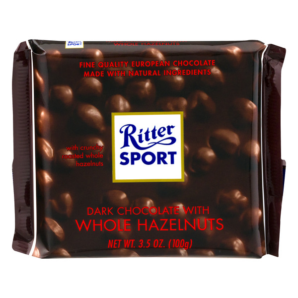 Ritter Sport Dark Chocolate Bar with Whole Hazelnuts
