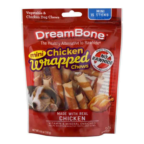 DreamBone Dog Chews Vegetable & Chicken Mini - 15 ct