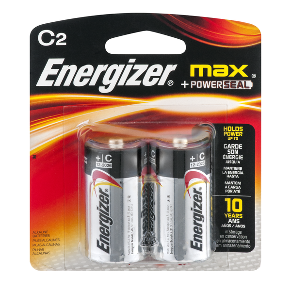 Energizer Max + Powerseal Batteries Size C