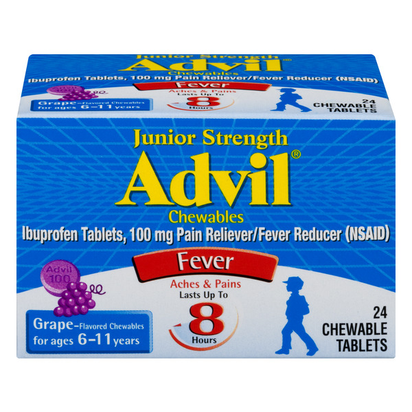 Advil Junior Strength Ibuprofen 100 mg Grape Flavor Chewable Tablets