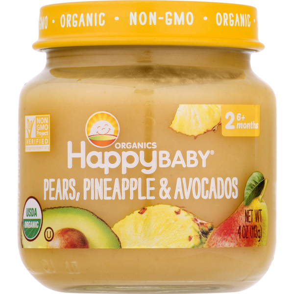 HappyBaby Organics Stage 2 Baby Food Pears Pineapple & Avocado Organic