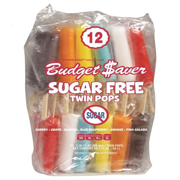 Budget Saver Twin Ice Pops Assorted Fruit Flavors No Sugar Added - 12 ct