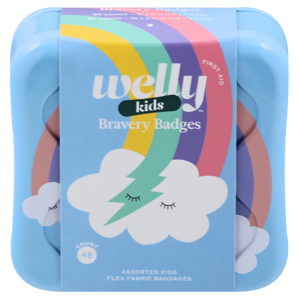 Welly Kids Bravery Badges Assorted Rainbow Flex Fabric Bandages