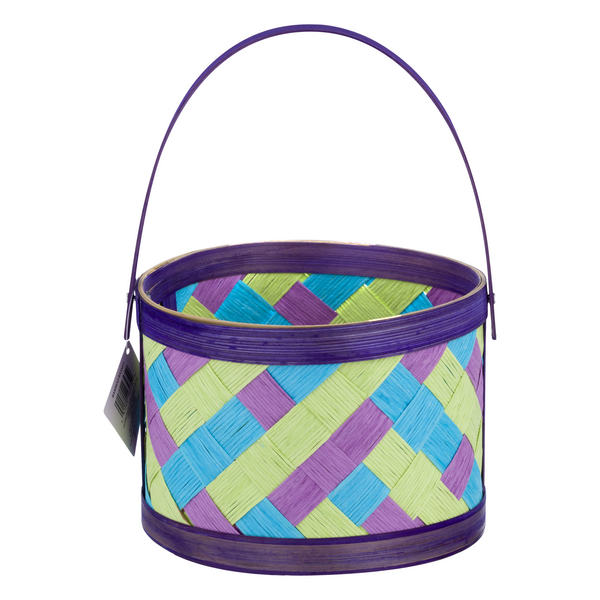 Smart Living Bamboo Basket Easter Purple Small