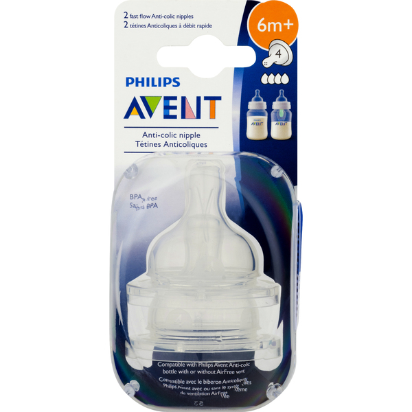 Philips Avent Anti-Colic Nipples Fast Flow 6 Months+