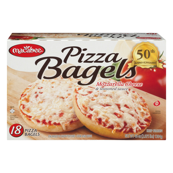 Macabee Pizza Bagels Mozarella Cheese - 18 ct
