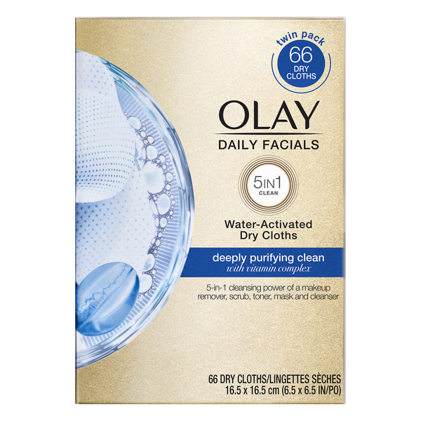 Olay Daily Facials Water Acitivated Dry Cloths - 2 ct