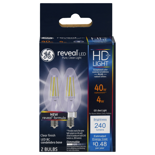GE Reveal LED HD+ Light Dimmable Light Bulbs 40W