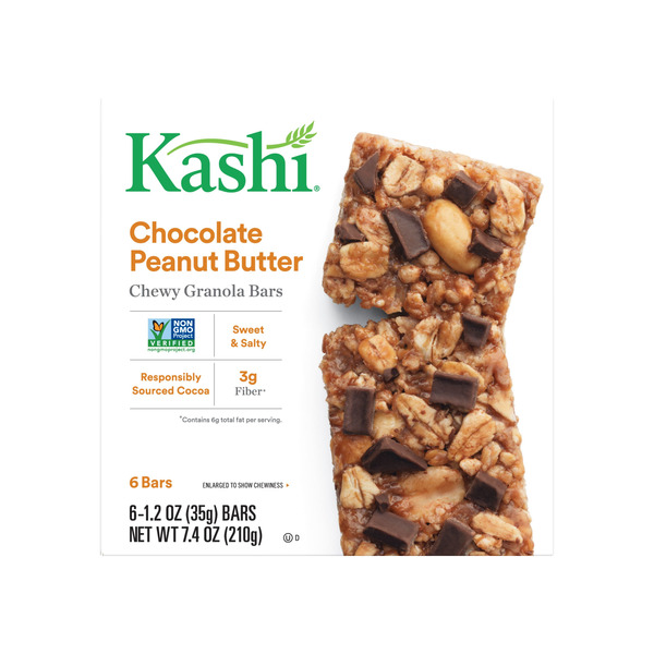 Kashi Chewy Granola Bars Chocolate Peanut Butter - 6 ct