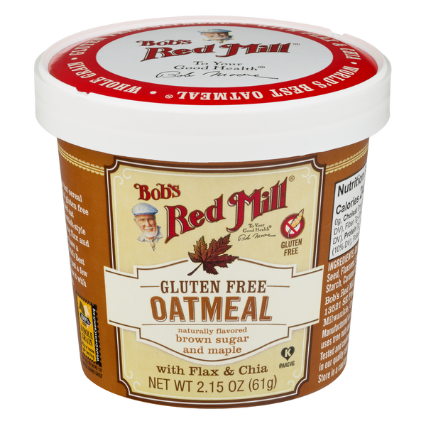 Bob's Red Mill Oatmeal Cup Brown Sugar & Maple w/Flax & Chia Gluten Free