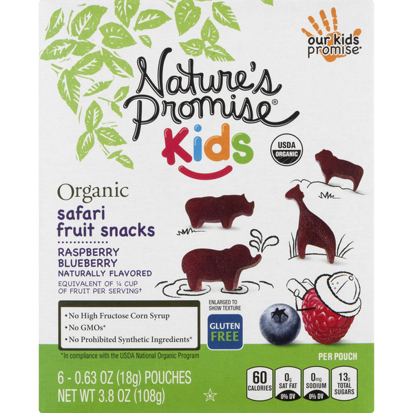Nature's Promise Kids Organic Fruit Snacks Raspberry Blueberry Safari 6 ct