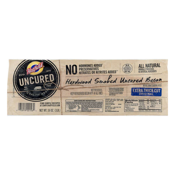 Hatfield Hardwood Smoked Uncured Bacon Extra Thick Cut Original