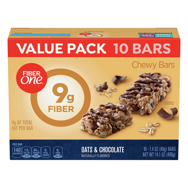 Fiber One Chewy Bars Oats & Chocolate Value Pack - 10 ct