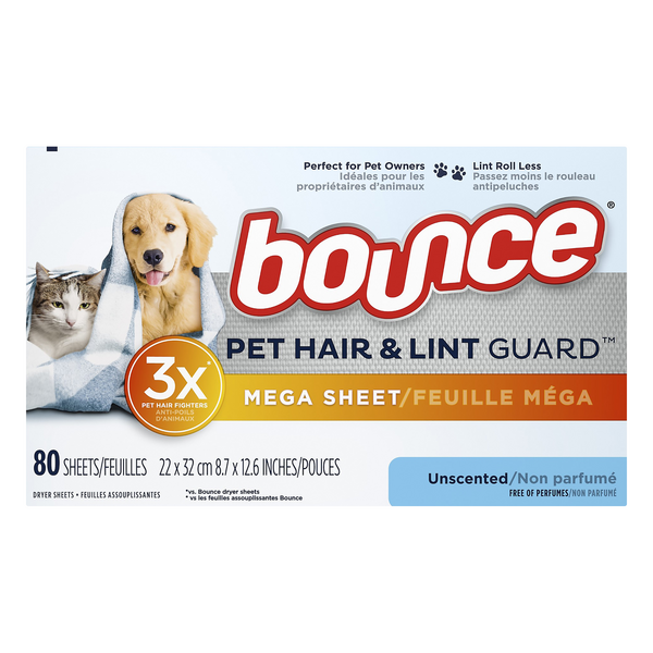 Bounce Pet Hair & Lint Guard Mega Dryer Sheets Unscented
