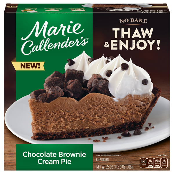 Marie Callender's No Bake Thaw & Enjoy Chocolate Brownie Cream Pie