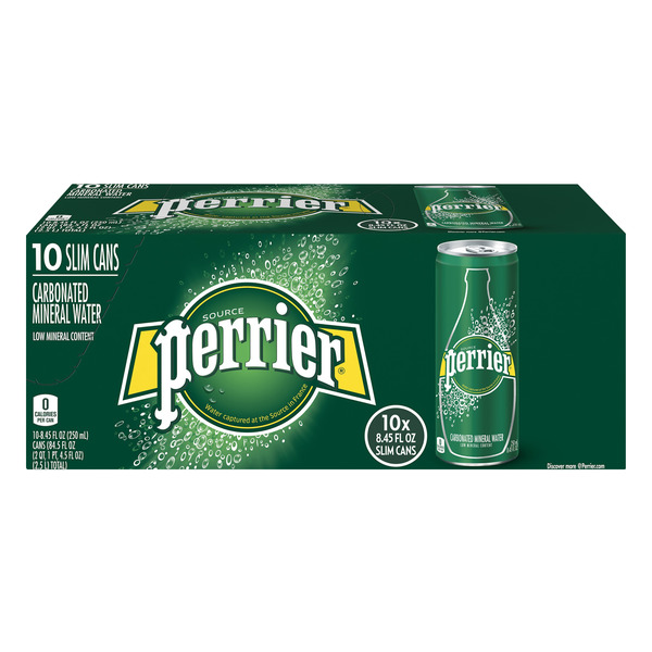 Perrier Sparkling Mineral Water Slim Can - 10 pk