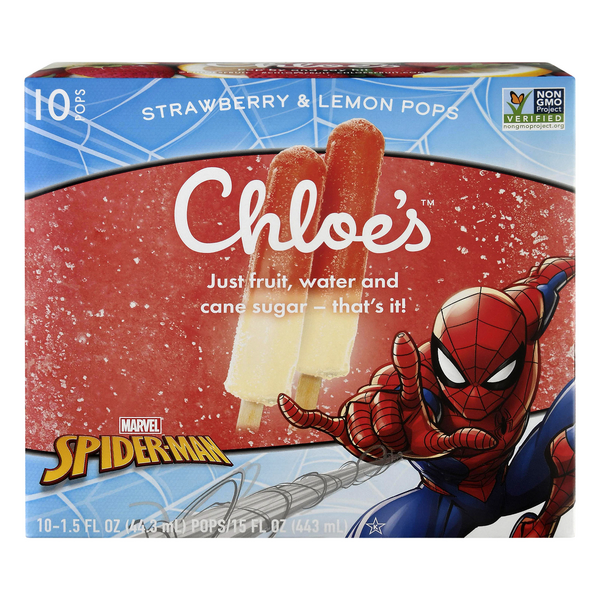 Chloe's Ice Pops Spiderman Strawberry & Lemon - 10 ct