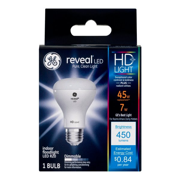 GE Reveal LED HD+ Indoor Floodlight Bulb Dimmable 45w Replacement