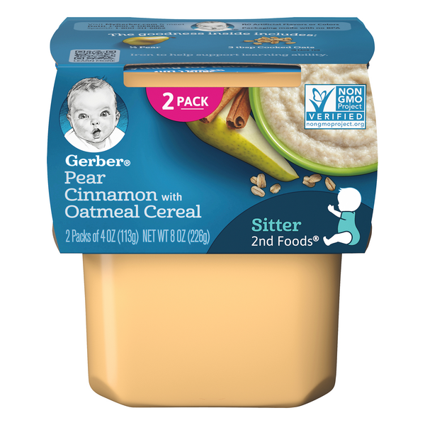 Gerber 2nd Baby Food Pear Cinnamon with Oatmeal - 2 ct