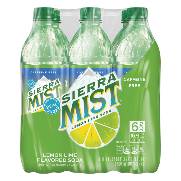 Sierra Mist Lemon Lime Soda Caffeine Free - 6 ct